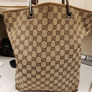 AUTHENTIC Gucci 31243 GG Brown Leather Tote
